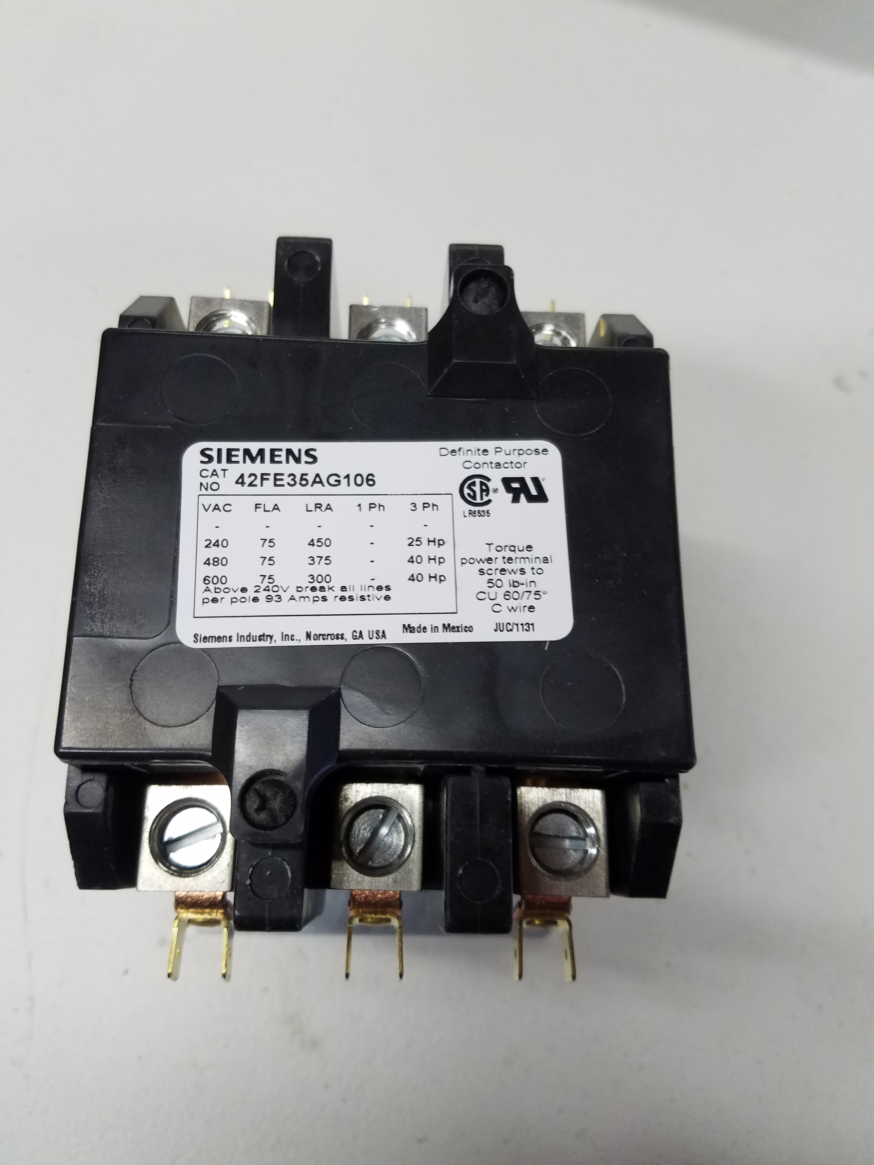 75 Amp 3 Pole Contactor 208 240v Coil Wiring