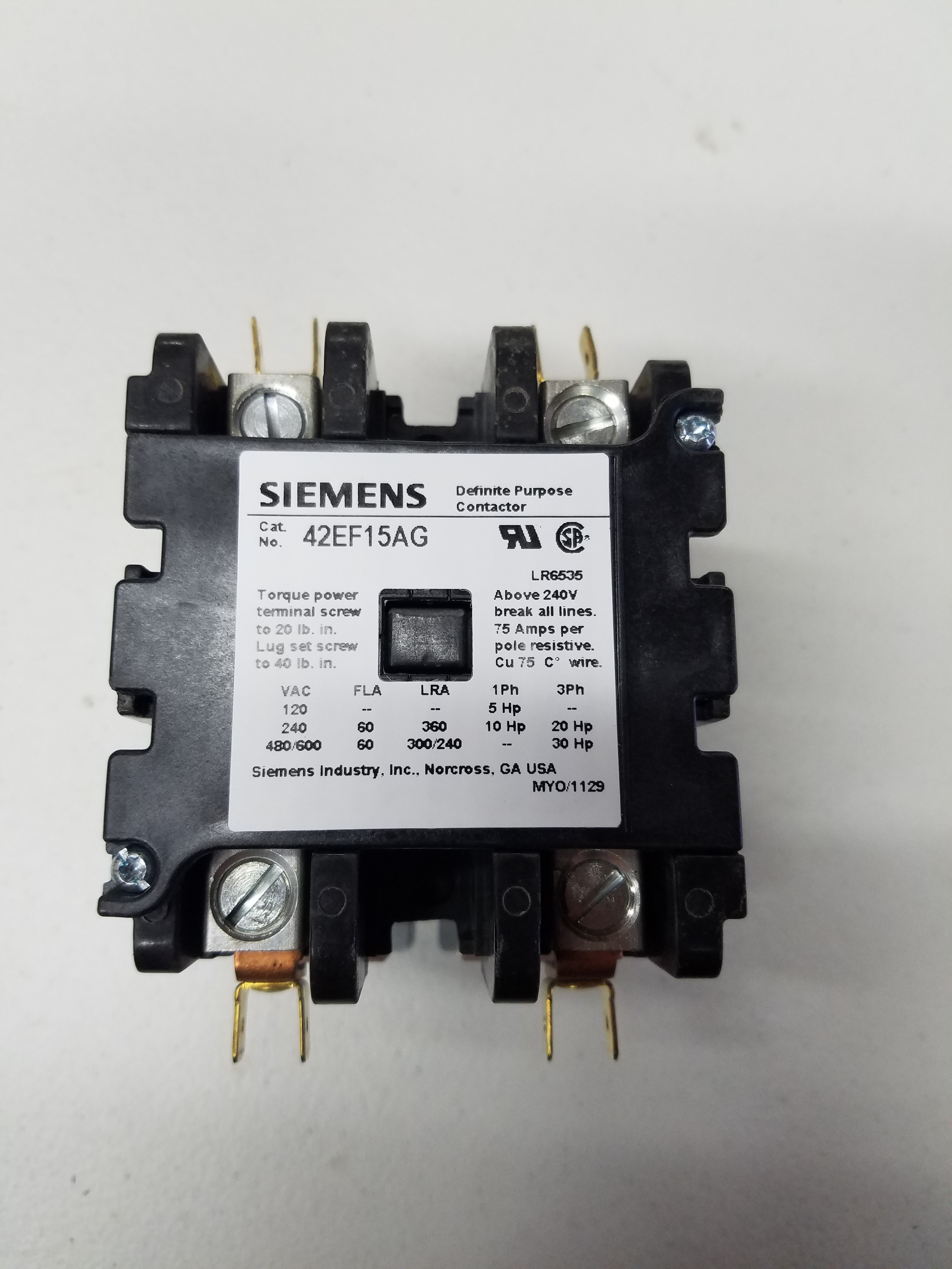 60 Amp 2 Pole Contactor 208 240v Coil 240 3 Phase Wiring